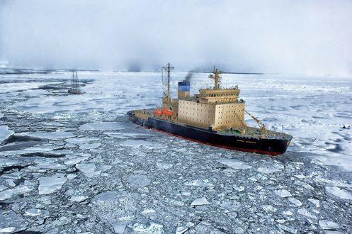 Обои Arctic Ocean / Арктика, Северный Ледовитый океан, ледокол Капитан Драницын, навигация