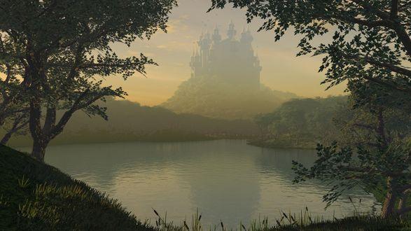 Обои Сказочный замок в тумане возвышается над лесным озером