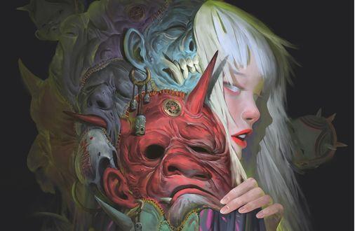 Обои Девочка с белыми волосами со страшными масками демонов на голове