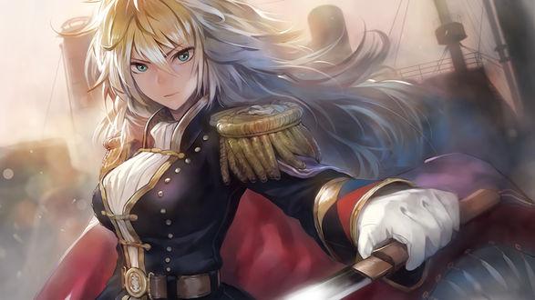 Обои Блондинка в военной форме с мечем