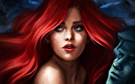 Обои Девушка с рыжими волосами, голубыми глазами