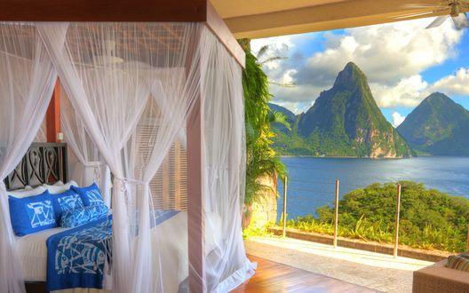 Обои Saint Lucia, Soufriere, Jade mountain resort / Сент-Люсия, Суфрье, вид из номера отеля Jade mountain resort
