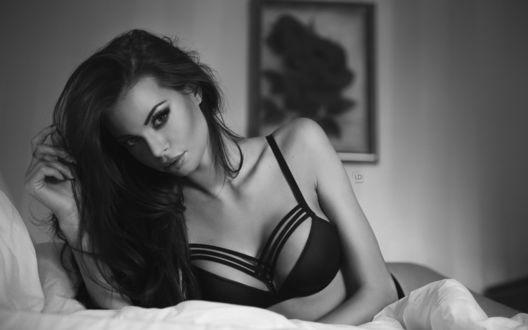 Обои Девушка с пышными волосами в нижнем белье позирует на кровати, глядя на нас, Justyna Gradek / Юстина Градек, by Lukasz Derengowski