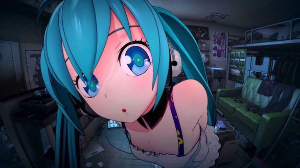 Обои Vocaloid Hatsune Miku / Вокалоид Хатсунэ Мику смотрит прямо в камеру