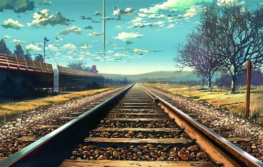 Обои Железная дорога, ведушая вдаль, художник Makoto Shinkai