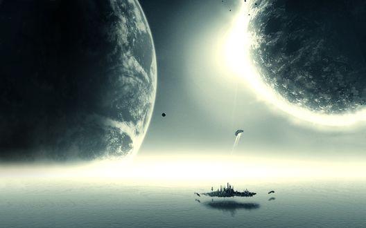 Обои Поверхность планеты с озером и летающим островом, откуда открывается вид на соседние планеты