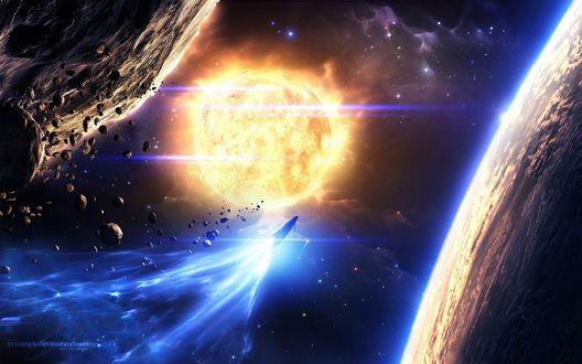 Обои Космический корабль пролетает между двух планет, стремясь к огненной звезде, By Max Mitrofamov
