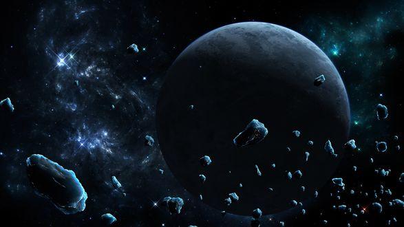 Обои Темный космос с планетой, вокруг которой летают обломки метеоритов