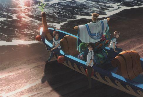 Обои Tsumugu Kihara, Hikari SAkishima и Kaname Isaki сидят в лодке со статуей Ojoshi на берегу моря из аниме Nagi No Asukara / Безоблачное завтра