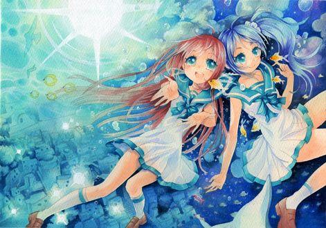 Обои Нiradaira Сhisaki / Хирадайра Чисакии и Мukaido Мanaka / Мукайдо Манака, из аниме Nagi No Asukara / Безоблачное завтра, под водой