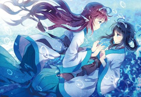 Обои Мukaido Мanaka / Мукайдо Манака и Shiodome Мiuna / Шиодоме Миюна в кимоно, из аниме Nagi No Asukara / Безоблачное завтра, под водой