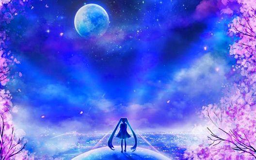 Обои Usagi Tsukino / Усаги Цукино / Сейлор Мун / Seilor Moon из аниме Bishoujo Senshi Sailor Moon / Красавица-воин Сейлор Мун стоит на шаре на фоне луны, неба и цветущих деревьев, by sugarmints