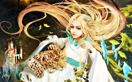 Обои Девушка с длинными светлыми волосами в белой одежде гладит детеныша леопарда, который положил свою голову ей на колени на фоне замка с красными крышами