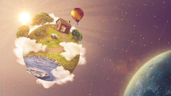 Обои Миниатюрная планета, на котором стоит сельский домик, пасутся овечки, вполне пасторальный пейзаж, летает в небе воздушный шар все это движется куда - то во Вселенной