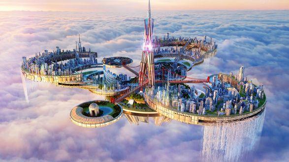 Обои Сказочный город с небоскребами летит в небе