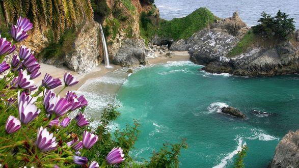 Обои Не большая заводь в скалах у моря с маленьким водопадом и разнообразной растительностью