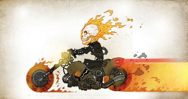 Обои Рисунок призрачного гонщика на мотоцикле