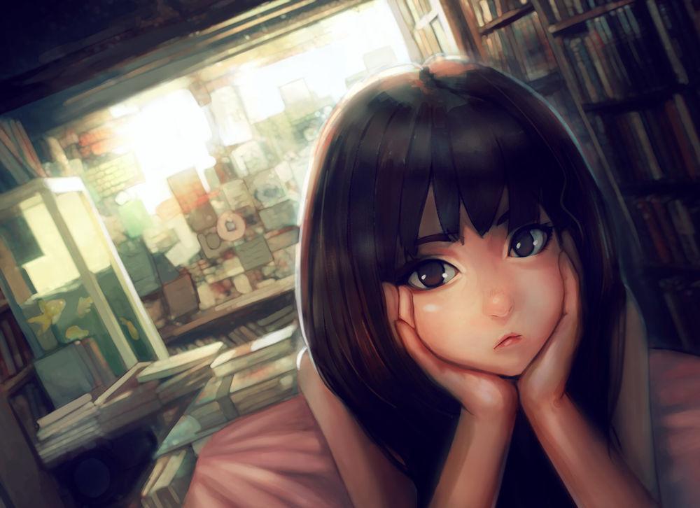 Картинки задумчивая девушка аниме
