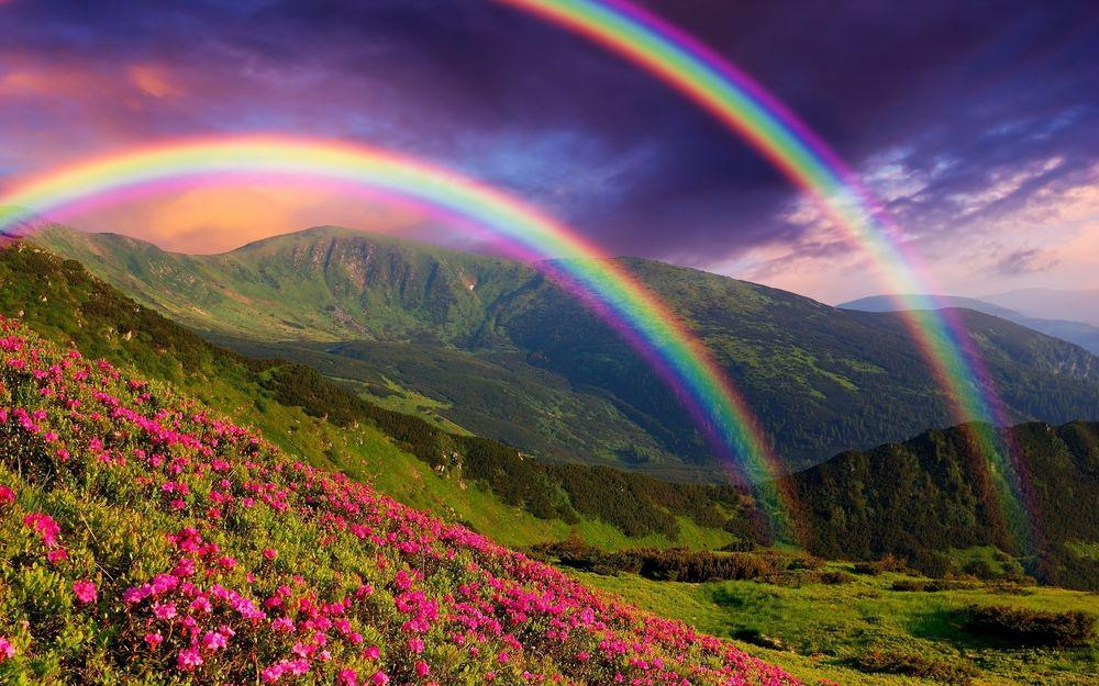 Картинки по запросу красивая радуга в горах