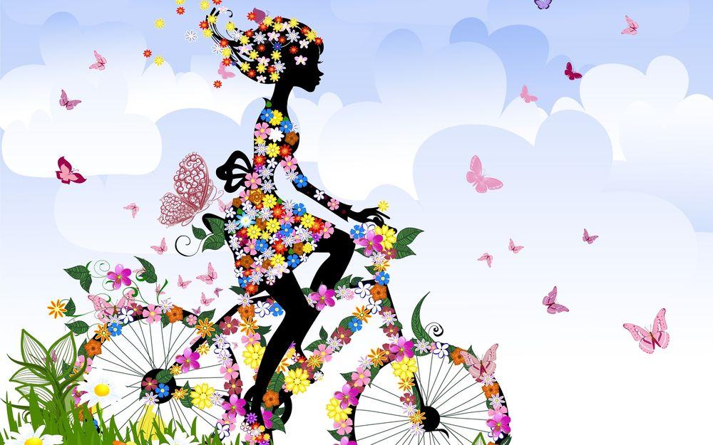 Рисунок цветы и бабочки