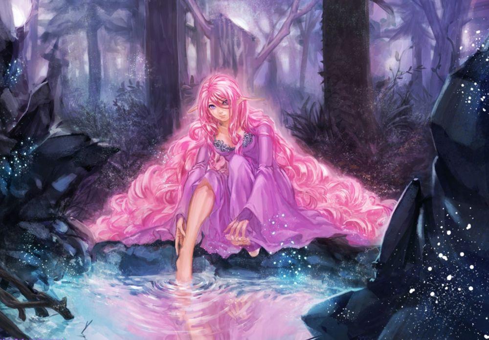 Обои для рабочего стола Девушка эльф с розовыми длинными волосами в розовом платье моет ноги в воде на фоне леса