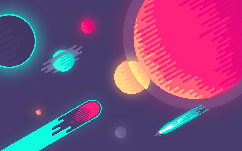 Обои для рабочего стола Рисунок планет и каметы в космосе