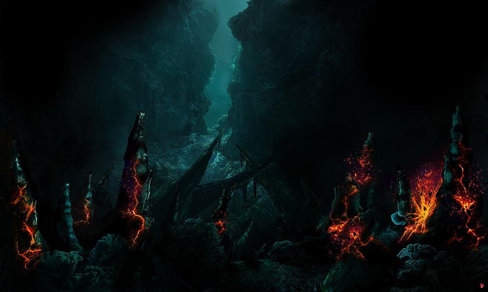 Обои для рабочего стола Раскаленные вулканические камни на дне мертвого моря, by lion794