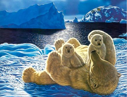 Обои Медведица с медвежатами на снегу, художник-анималист Уильям Шиммель