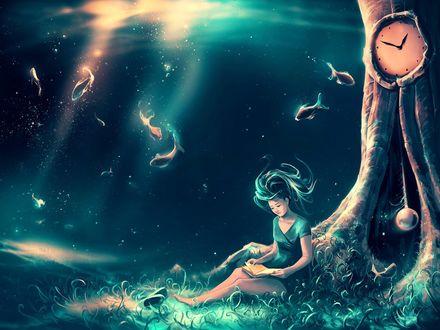 Обои Девушка с книгой сидит у дерева с большими часами и вокруг нее плавают рыбки, by AquaSixio