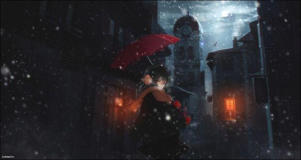 Обои Девушка с красным зонтом зимним вечером идет по улице под снегопадом, by Chrinoth