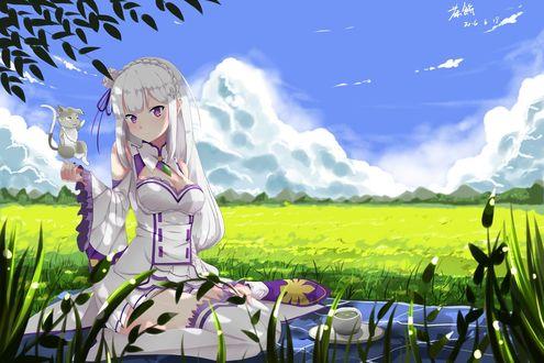 Обои Девушка держит в руке мышонка, сидя в зеленом поле на пледе