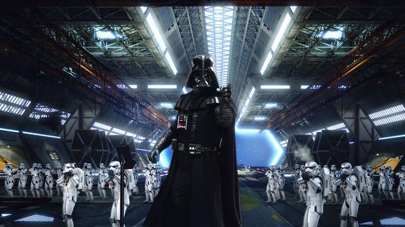 Обои Darth Vader / Дарт Вейдер перед отрядом штурмовиков, культовая эпическая фантастическая сага Star Wars / Звездные войны
