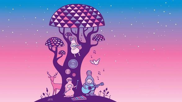 Обои Маленькие смешные существа играют на ксилофоне и гитаре, сидя под деревом, а один из них сидит сверху и играет на флейте