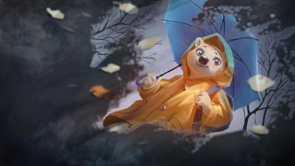 Обои Белый медвежонок в желтом дождевике с голубым зонтом смотрит в лужу на свое отражение, by Pelboy