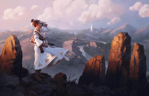 Обои Девушка в белых одеждах стоит на горе, by radioblur