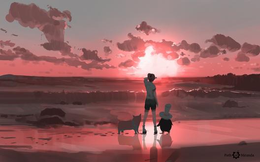 Обои Мальчик с собакой и сказочным персонажем стоят у моря на фоне заката, by snatti89