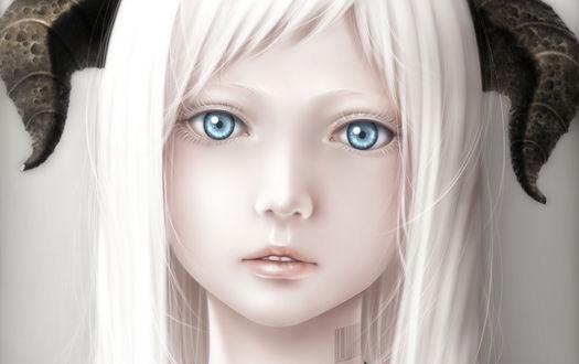 Обои Белокурая дьяволица с голубыми глазами, с татуировкой в виде штрих-кода на шее, by Bouno Satoshi