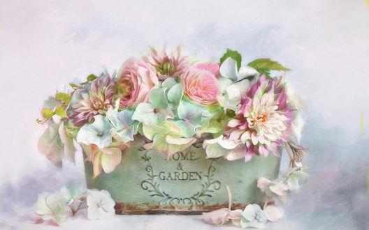 Обои Небольшой букетик пастельных тонов в вазочке шебби-шик (Home & Garden)