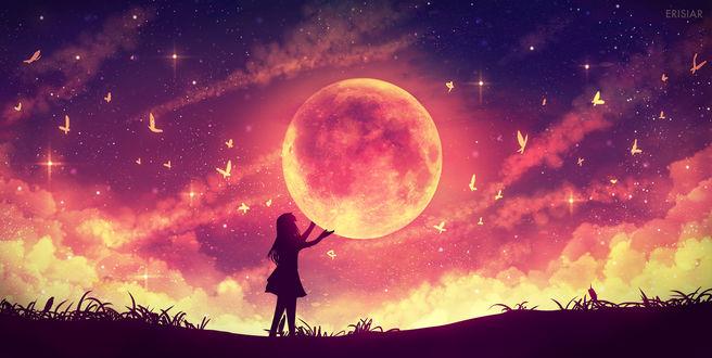 Обои Силуэт девушки, держащей луну, by Erisiar