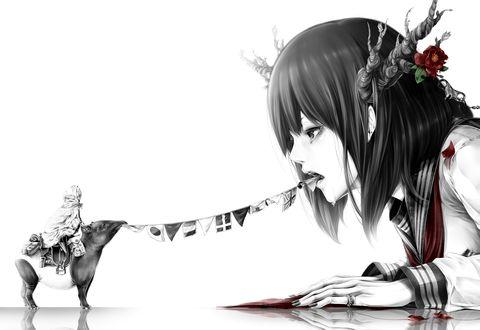 Обои Миниатюрный тапир со всадником в плаще и маске на спине тянет флаги изо рта у плачущей темноволосой девушки в японской школьной форме с ветвистыми рогами, на одном из которых расцвел красный цветок, сзади из ее волос торчит заводной ключ с прикрепленным к нему брелком, art by Bouno Satoshi