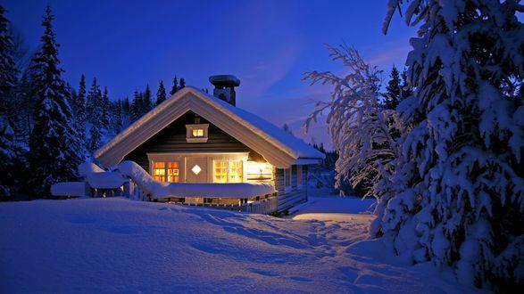Обои Деревянный домик среди заснеженных сосен в зимней вечерней тиши