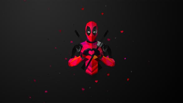 Обои Герой комиксов Deadpool / Дедпул делает знак руками в виде сердца