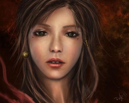 Обои Портрет девушки с зелеными глазами, by wlop