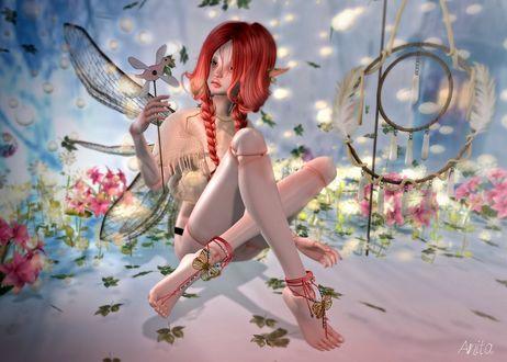 Обои Рыжеволосая эльфийка сидит среди цветов