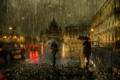 Обои Дождливый Санкт-Петербург, фотограф Эдуард Гордеев
