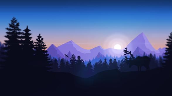Обои Силуэты благородного оленя и пролетающего над лесом горного орла на фоне гор и неба на закате, пейзаж из игры Наблюдательная вышка / Firewatch