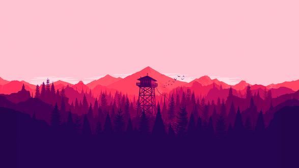 Обои Пейзаж из игры Наблюдательная вышка / Firewatch