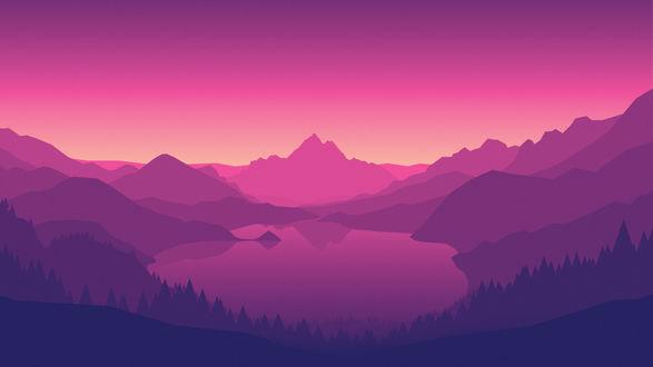 Обои Горное озеро в розово-фиолетовых тонах, пейзаж из игры Наблюдательная вышка / Firewatch