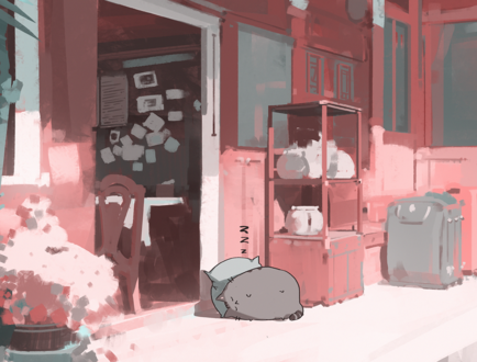 Обои Пухлый кот спит на подушке во дворе дома, by snatti89