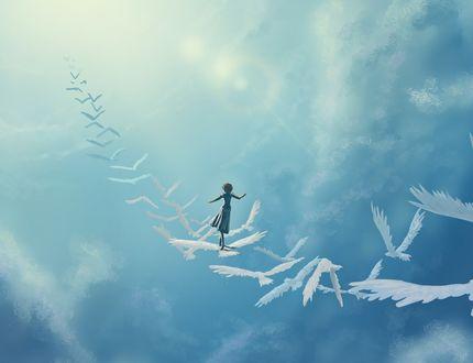 Обои Девочка на птицах, летящих в небе